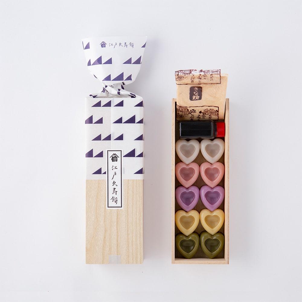 ハートの江戸久寿餅 花火 10個入り 木箱