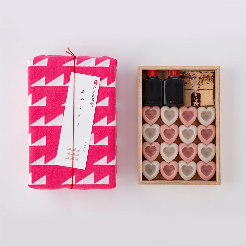 ハートの江戸久寿餅 紅白 16個入り手ぬぐい梱包
